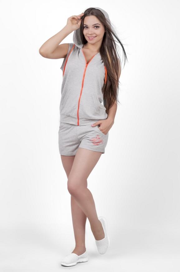 Спортивный костюм серого с оранжевым цвета 2352.79|интернет-магазин vvlen.com