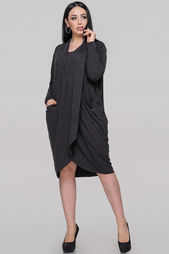 Платье оверсайз темно-серого цвета 2820.17|интернет-магазин vvlen.com