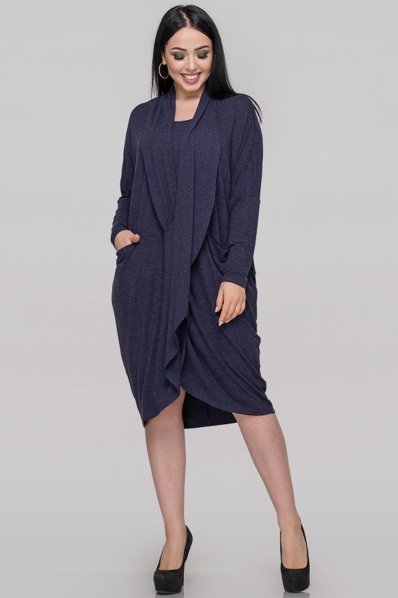 Платье оверсайз синего цвета 2820.17|интернет-магазин vvlen.com
