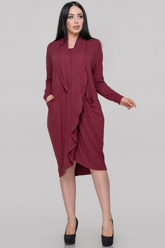 Платье оверсайз бордового цвета 2820.17 интернет-магазин vvlen.com
