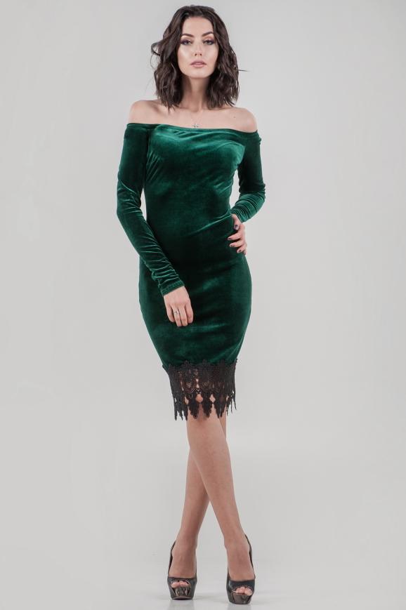 Коктейльное платье футляр темно-зеленого цвета 2624-1.26|интернет-магазин vvlen.com