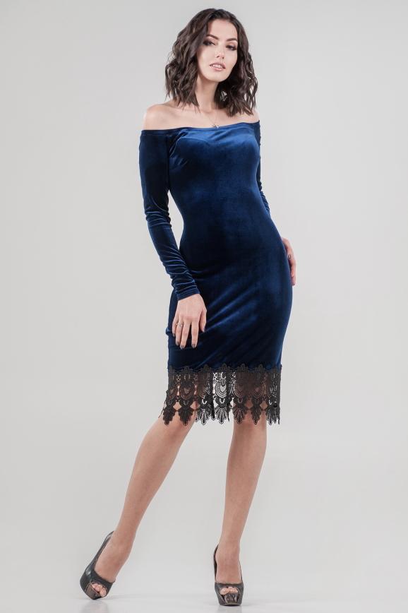 Коктейльное платье футляр синего цвета 2624-1.26|интернет-магазин vvlen.com
