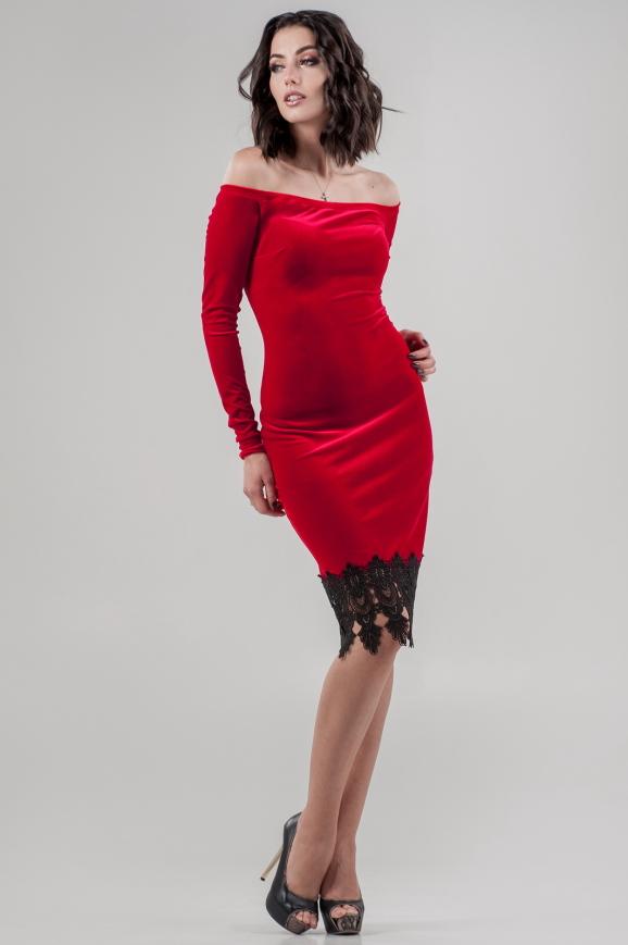 Коктейльное платье футляр красного цвета 2624-1.26|интернет-магазин vvlen.com
