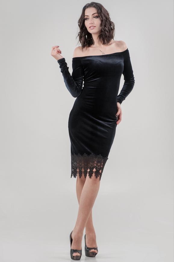 Коктейльное платье футляр черного цвета 2624-1.26|интернет-магазин vvlen.com
