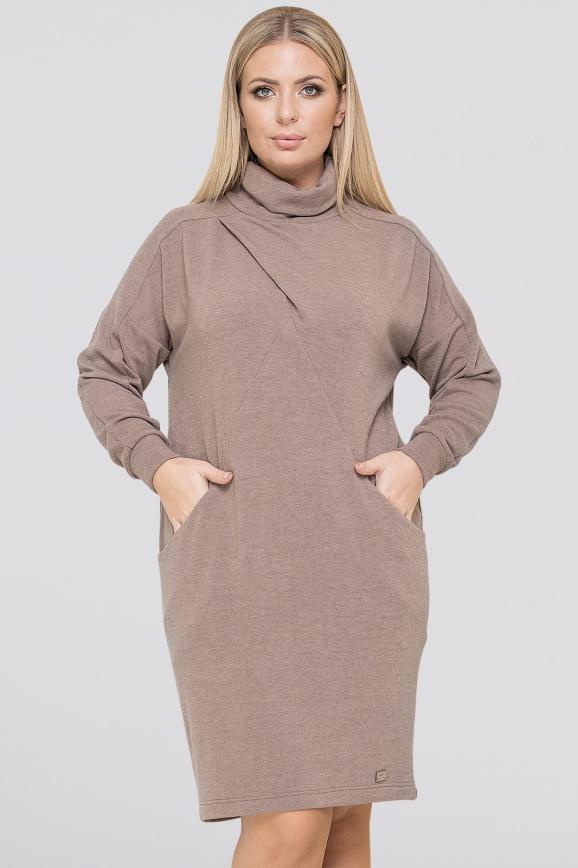 Платье  мешок капучино цвета |интернет-магазин vvlen.com