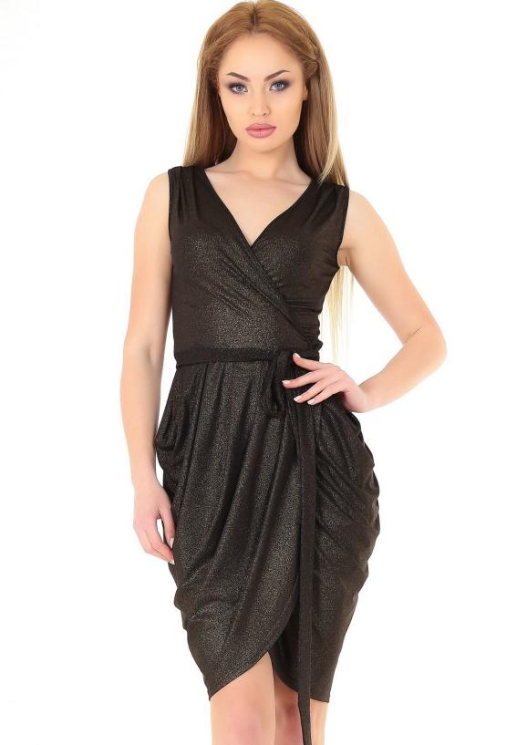 Коктейльное платье с юбкой на запах черного цвета 900.6|интернет-магазин vvlen.com
