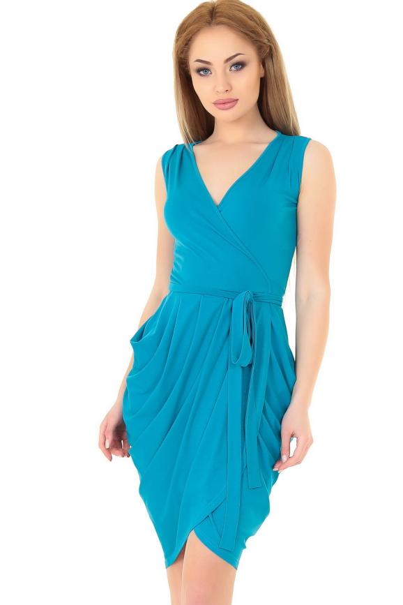 Коктейльное платье с юбкой на запах морской волны цвета|интернет-магазин vvlen.com