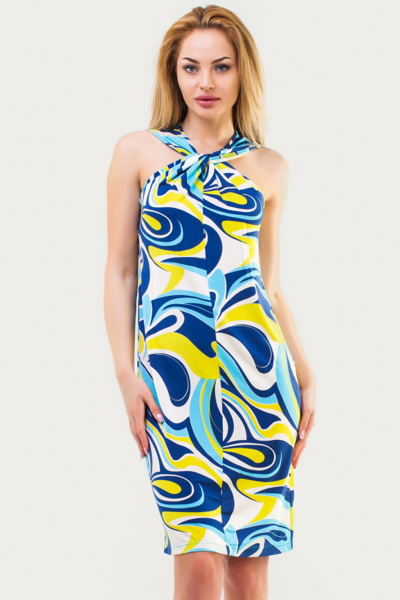Летнее платье  мешок голубого тона цвета 1107.20|интернет-магазин vvlen.com
