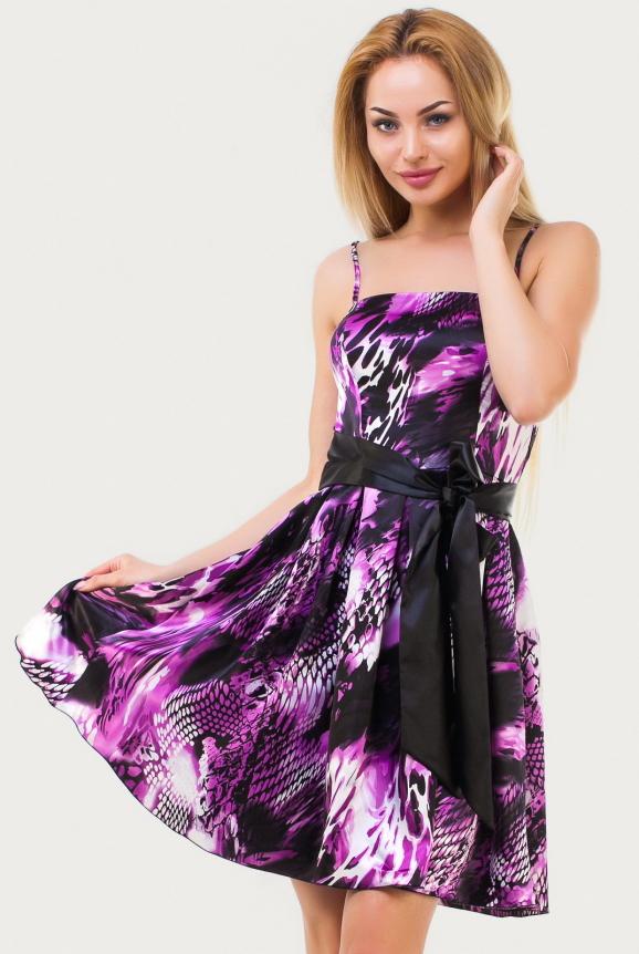 Летнее платье с расклешённой юбкой сиреневого с черным цвета|интернет-магазин vvlen.com