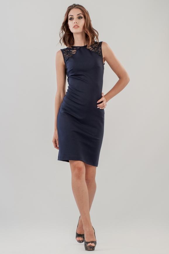 Коктейльное платье футляр темно-синего цвета 1954-1.47|интернет-магазин vvlen.com
