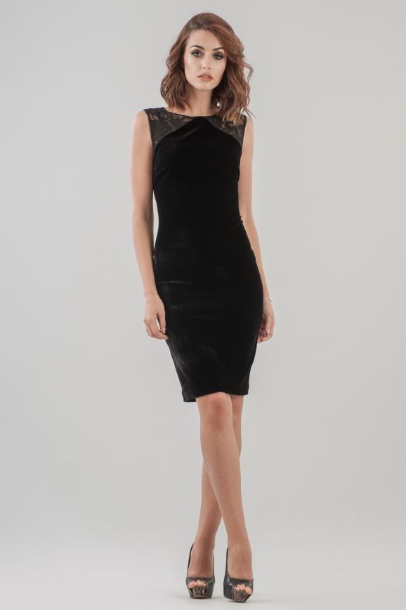 Коктейльное платье футляр черного цвета 1954.26|интернет-магазин vvlen.com