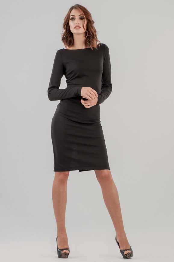 Коктейльное платье футляр черного цвета 2631.47|интернет-магазин vvlen.com