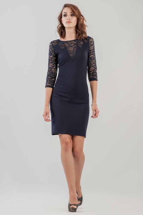 Коктейльное платье футляр синего цвета|интернет-магазин vvlen.com
