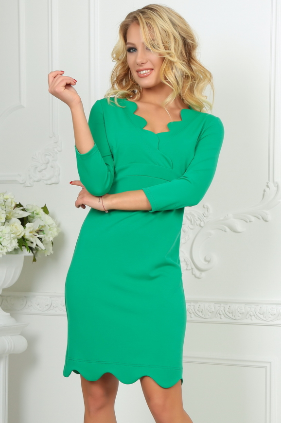Повседневное платье футляр зеленого цвета 2489.47|интернет-магазин vvlen.com