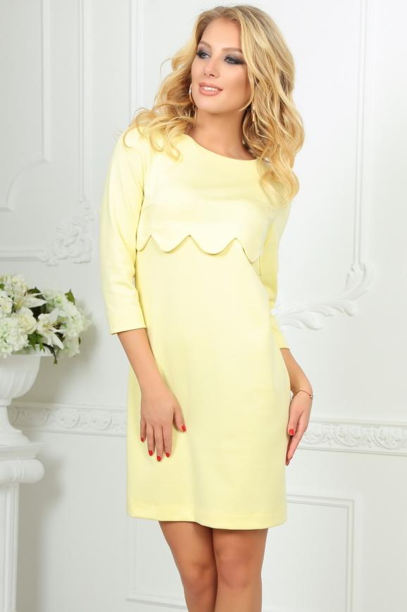 Повседневное платье футляр желтого цвета|интернет-магазин vvlen.com