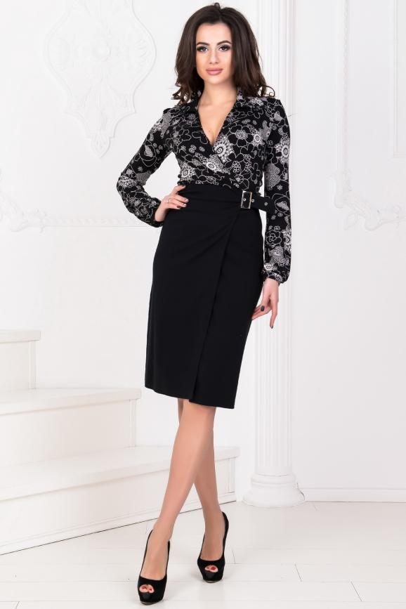 Офисное платье с юбкой на запах черного цвета 530.1|интернет-магазин vvlen.com