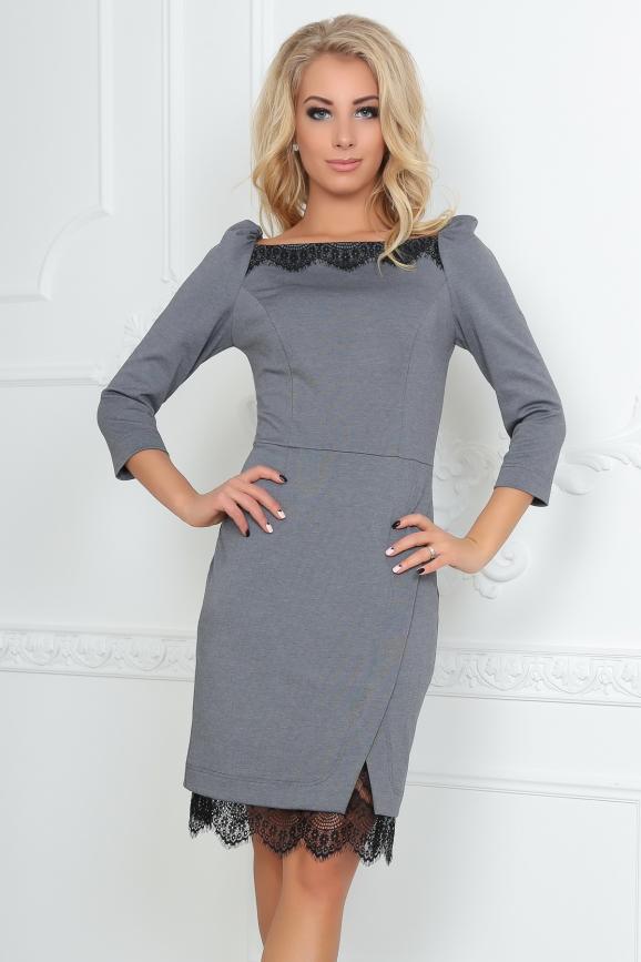 Коктейльное платье футляр серого с черным цвета|интернет-магазин vvlen.com
