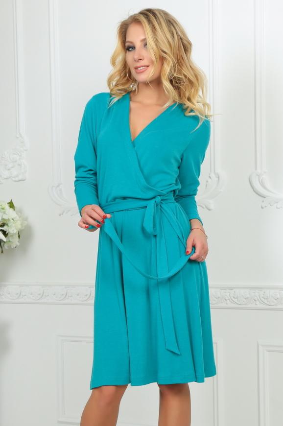 Повседневное платье с расклешённой юбкой бирюзового цвета 2476.65|интернет-магазин vvlen.com