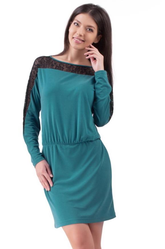 Повседневное платье футляр бирюзового цвета 2117.56|интернет-магазин vvlen.com