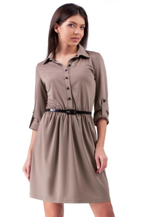 Повседневное платье с расклешённой юбкой бежевого цвета 2112.56|интернет-магазин vvlen.com