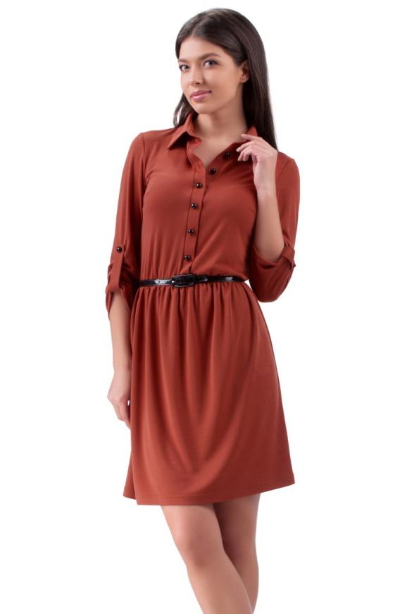 Повседневное платье с расклешённой юбкой чили цвета 2112.56|интернет-магазин vvlen.com