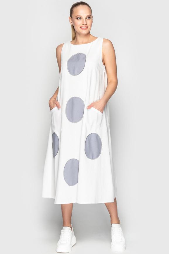 Летнее платье трапеция белый с серым цвета 760 интернет-магазин vvlen.com