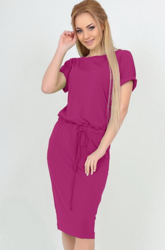 Офисное платье футляр малинового цвета|интернет-магазин vvlen.com