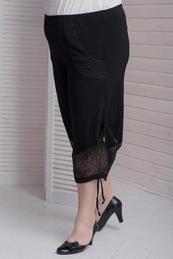 Капри женские черного цвета 410с-1|интернет-магазин vvlen.com