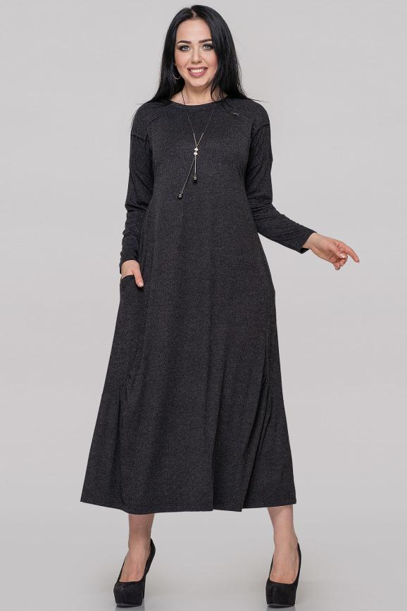 Платье оверсайз темно-серого цвета 2822.17|интернет-магазин vvlen.com