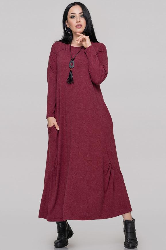 Платье оверсайз бордового цвета 2822.17|интернет-магазин vvlen.com