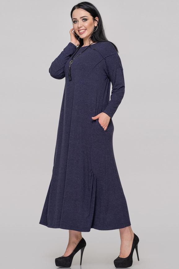 Платье оверсайз синего цвета 2822.17|интернет-магазин vvlen.com