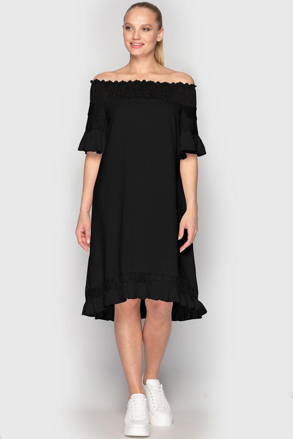 Летнее платье с открытыми плечами черного цвета 759 интернет-магазин vvlen.com