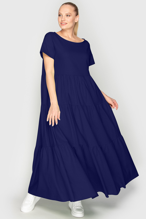 Летнее платье с пышной юбкой темно-синего цвета 345|интернет-магазин vvlen.com