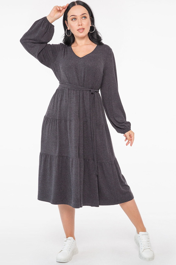 Платье с расклешённой юбкой темно-серого цвета 2959.17 |интернет-магазин vvlen.com