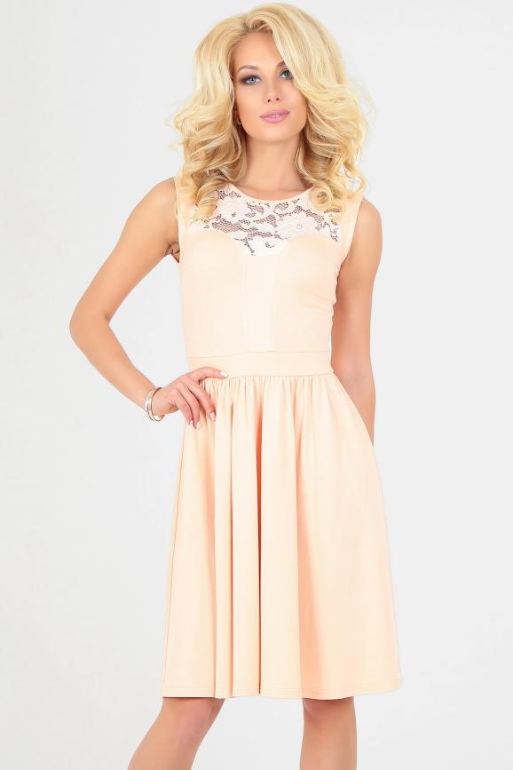 Летнее платье с пышной юбкой персикового цвета|интернет-магазин vvlen.com