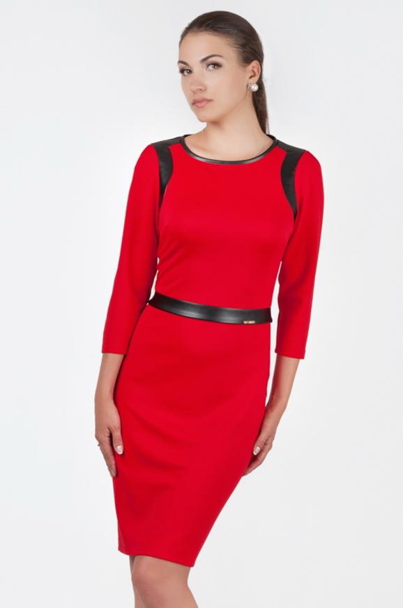 Офисное платье футляр красного цвета 2375 .77|интернет-магазин vvlen.com