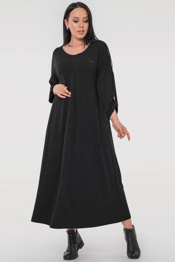 Платье оверсайз темно-серого цвета 2796.17|интернет-магазин vvlen.com