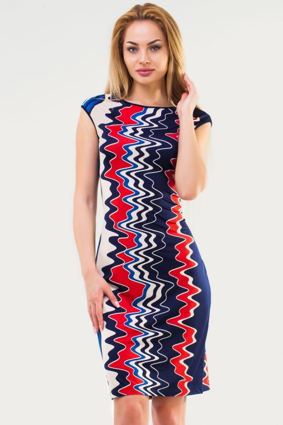Летнее платье трапеция синего с красным цвета интернет-магазин vvlen.com