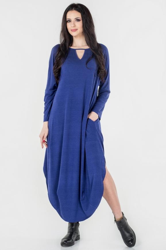 Платье оверсайз василькового цвета 2424-2.17|интернет-магазин vvlen.com