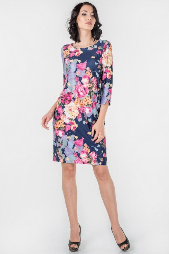 Повседневное платье футляр синего с розовым цвета|интернет-магазин vvlen.com
