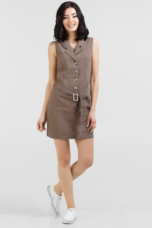 Летнее платье футляр коричневого цвета 1119.30|интернет-магазин vvlen.com