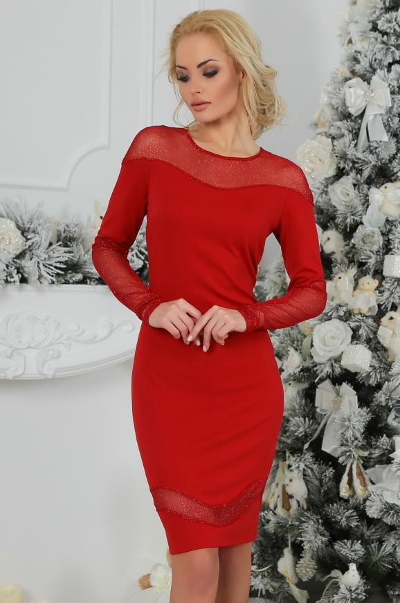 Коктейльное платье футляр красного цвета 2443.47|интернет-магазин vvlen.com