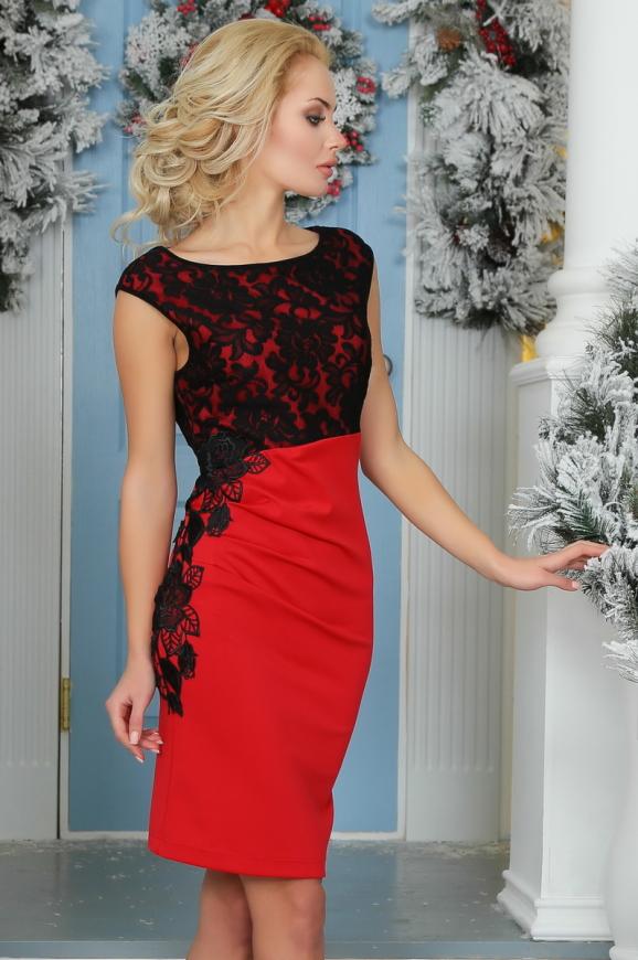 Коктейльное платье футляр красного цвета 1946-1.47|интернет-магазин vvlen.com
