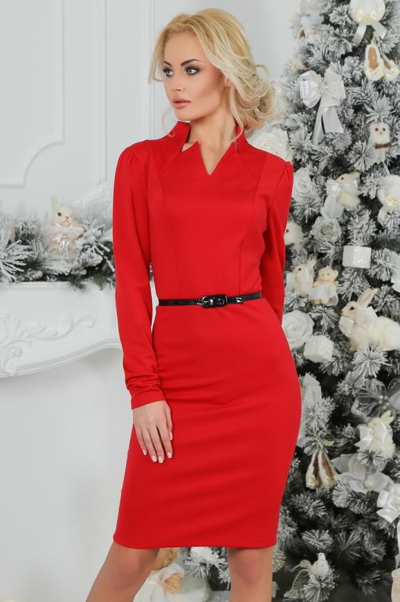 Офисное платье футляр красного цвета|интернет-магазин vvlen.com