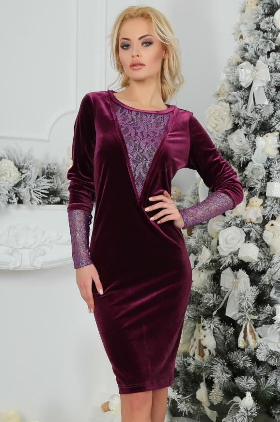 Коктейльное платье футляр сиреневого с черным цвета 2438.26|интернет-магазин vvlen.com