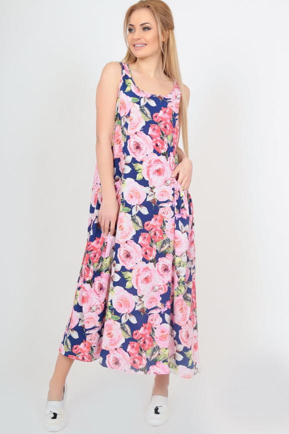 Летнее платье  мешок синего с розовым цвета интернет-магазин vvlen.com