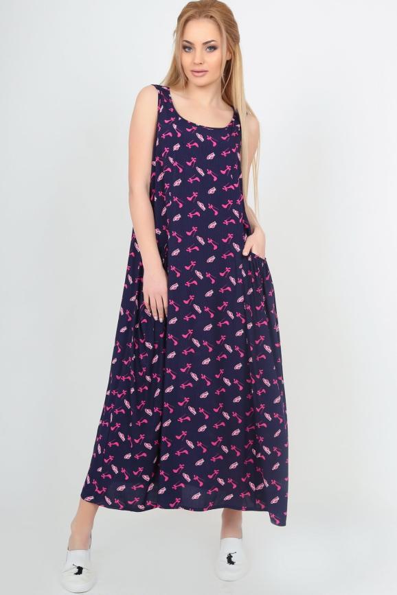 Летнее платье балахон темно-синего цвета|интернет-магазин vvlen.com