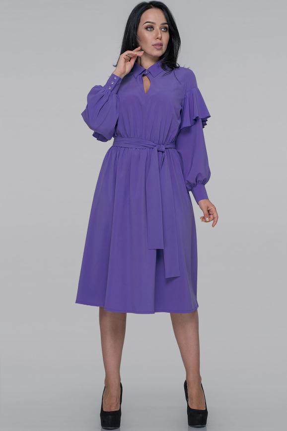 Повседневное платье с расклешённой юбкой сиреневого цвета 2933.100|интернет-магазин vvlen.com