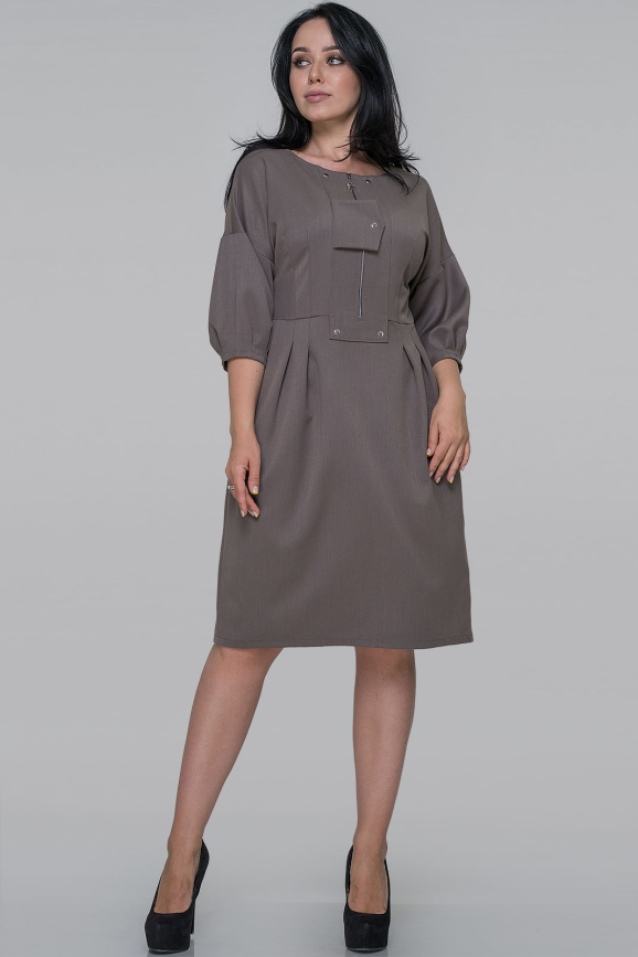 Платье футляр серо-оливковый цвета  интернет-магазин vvlen.com