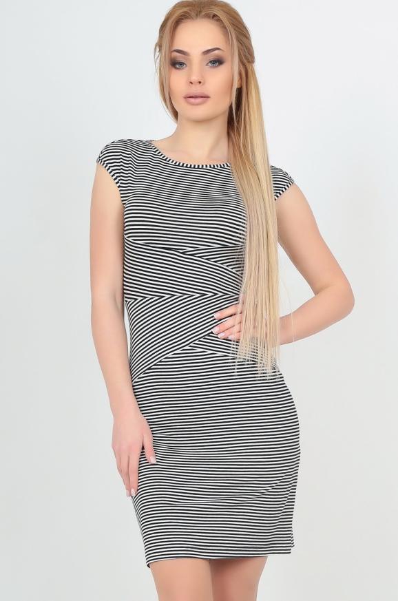 Летнее платье футляр полоски черной цвета|интернет-магазин vvlen.com